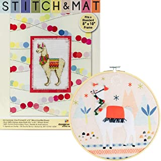 2 Item Bundle: Llamas! - 1 Cross Stitch Kit with Mat and 1 Felt Hoop Kit