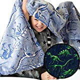 Dinosaur Blanket Glow in the Dark Luminous Dino Blanket for Kids - Soft Plush Blue T-Rex Blanket Throw For Boys and Girls - Large 60in x 50in Glowing Jurassic Dinosaur Fossil Dino Bones Blankets