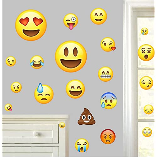20f899f435 Emojis Pack of 22 - Wall Art Vinyl Printed Stickers Emoticon Funny Emoji  Faces Bedroom Decals
