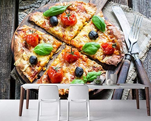 HRXBH Self-Adhesive Photo Wallpaper 3D Wooden Board Snack Pizza Vegetable Fork Food Mural Wall Art Restaurant Office Cafe Bar Classroom Living Room Children Room Tv Background Wall(W)250x(H)175cm