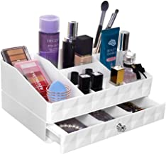 Cosmetics Organizer Large Capacity Jewelry Storage Makeup Drawer Organizer, 1 Drawer 12 Compartment with Diamond Pattern Fit Different Size of Cosmetic Brushes Palettes Lipsticks (2-Tier)