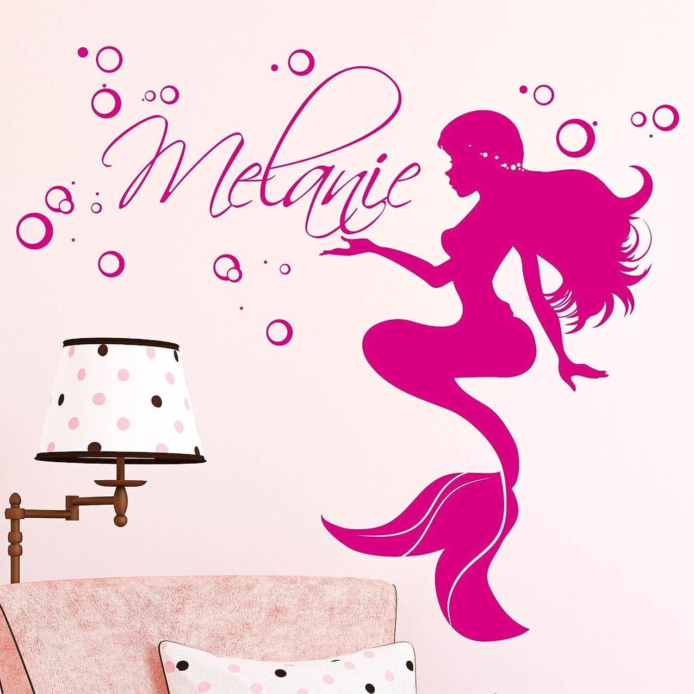 "Wandtattoo-Loft® ""Meerjungfrau mit Wunschnamen    Wandtattoo     Wandbild   Kinderzimmer   Wandaufkleber   49 Farben   4 Größen   flieder   105 x 116 cm B00XL5TSW2 502454"