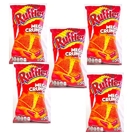 RUFFLES MEGA CRUNCH SALSA ROJA 50g (Box with 5 bags)