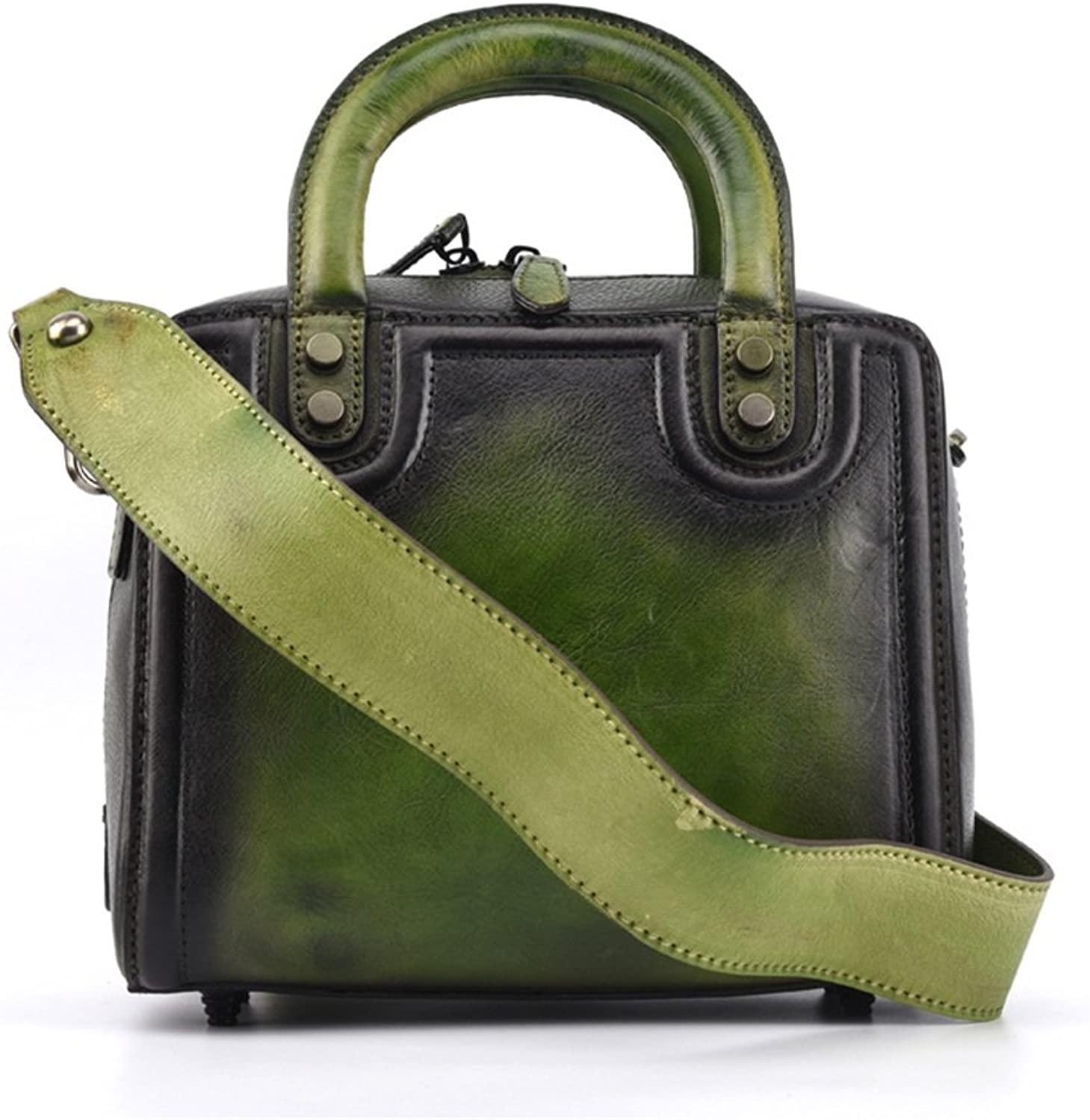 Professional Bag New The First Layer of Leather Handbag Hand-colord Retro Style Solid color Tote Bag Outdoor Travel Essentials (color   Green)