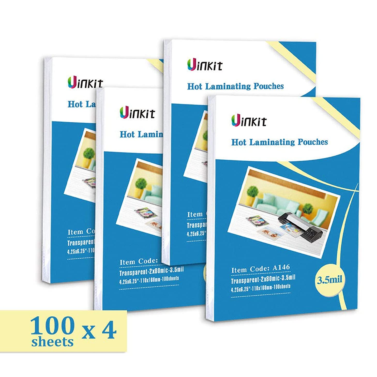 Hot Thermal Laminating Pouches 4.25x6.25-400 Sheets 3.5Mil for Sealed 4x6 Inches Photo Uinkit