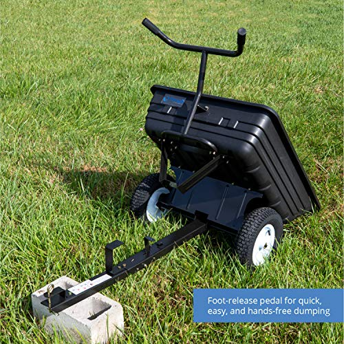 Titan Attachments 650 LB (10 Cu. Ft.) Economy Tow-Behind Poly Dump Cart for Lawn Tractor and ATV/UTV's, Poly Dump Cart,