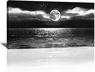 Canvas Art Black White Moon Sea Ocean Landscape Paintings Canvas Wall Art Print Paintings Modern Giclee Artwork for Wall Decor and Home Decor Stretched and Framed Ready to Hang(Ocean&Moon20 x 40inch)