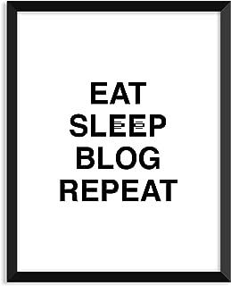 Serif Design Studios Eat Sleep Blog Repeat, Inspiration Quote, Funny, Adult, Minimalist Poster, Home Decor, College Dorm Room Decorations, Wall Art