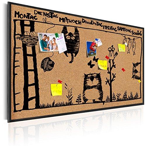 murando Pinnwand Kalender 60x40 cm Kork Bilder Holzrahmen Korktafel Korkwand Memoboard Pinboard Aufdruck - Wochenkalender Kalender Kinder Comic Zeichen i-A-0127-q-a