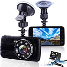 XIAOJIE Car Camera Digital - 1080P Full Hd Driving Video Recorder for Cars, Car Camera with 8 Led Lights, 4 Inches Large IPS Screen, 170°Wide Angle, Built in Loop Recording, G-Sensor