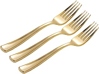 WELLIFE 320 Pieces Gold Plastic Forks, Durable Disposable Gold Forks, Perfect Gold Utensils for Parties and Wedding