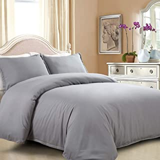 EASELAND Duvet Cover Set Queen Grey 3 Pcs-1 Microfiber Duvet Cover Matching 2 Pillowcase Wrinkle, Fade, Stain Resistant.( Without Duvet and Pillow
