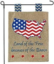 America Garden Flag - Land of the Free, Home of the Brave - For Memorial Day, July 4 - Garden Flag 12x18 Stars & Stripes on Burlap - Home Garden Flag