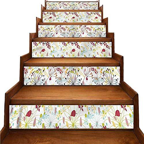 JiuYIBB - Pegatinas autoadhesivas para escaleras, diseño de flores