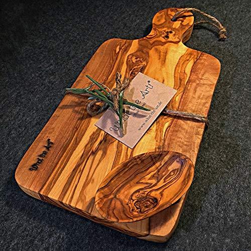 What the Art!® Olive Wood «Le Provençal» Gr. XL | Olivenholz Schneidebrett inkl. Dip-Schälchen + Geschenk | ca. 35 x 17 x 2 cm | Käsebrett - Servierbrett - Brotzeitbrett - Vesperbrett