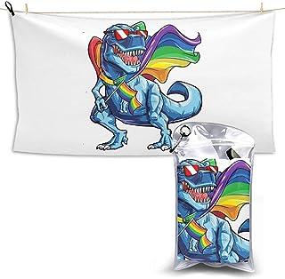 Gay Pride Flag LGBT Dinosaur Dino Sunglass Microfiber Beach Towel Compact Quick Dry Super Absorbent Lightweight All Purpose Towel Sand Free Towel for Travel Yoga Gym Swim Hiking,Camping & Bath