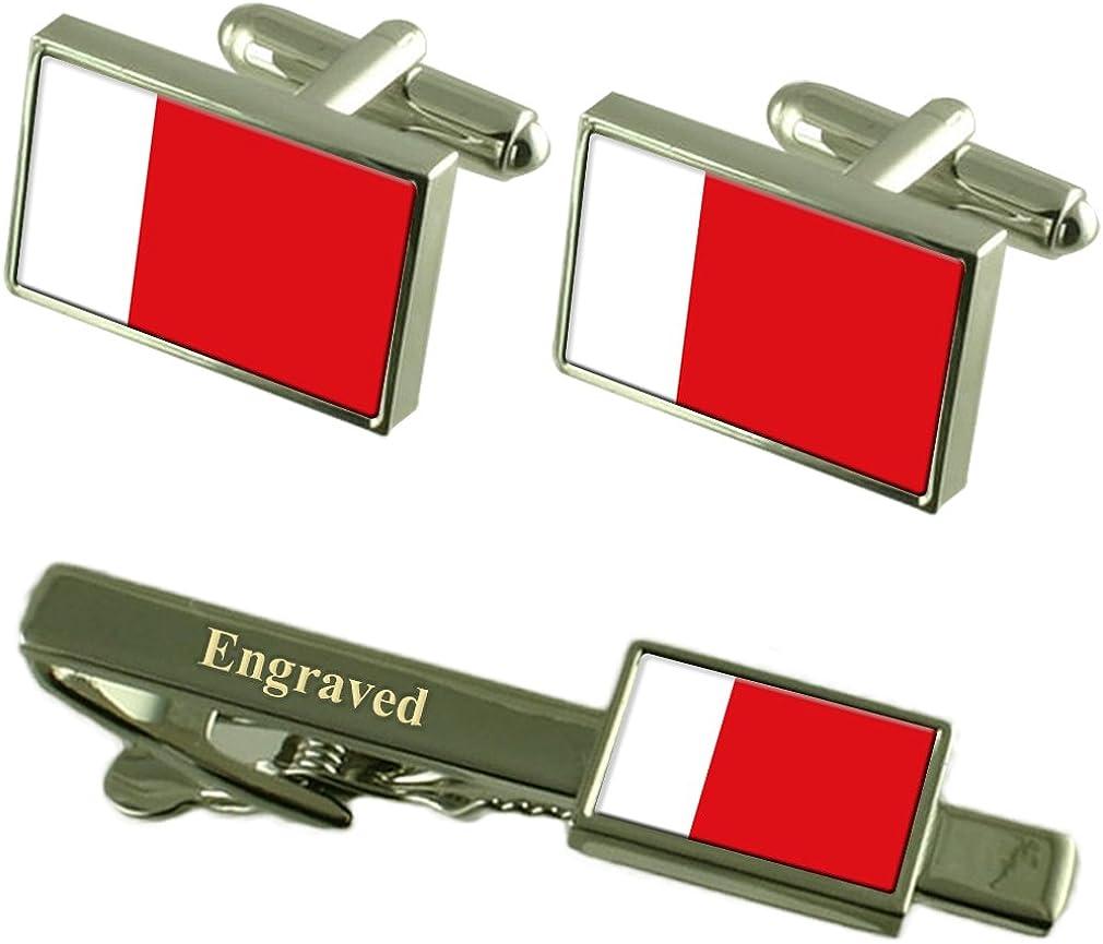 Select Gifts Dubai Flag Cufflinks Engraved Tie Clip Matching Box Set