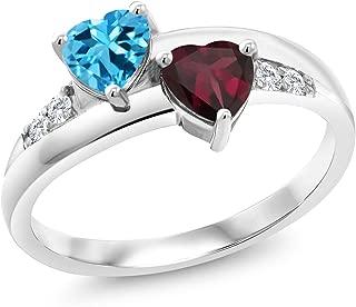 Gem Stone King 1.19 Ct Heart Shape Swiss Blue Topaz Red Rhodolite Garnet 925 Silver Lab Grown Diamond Ring