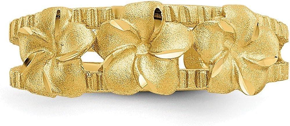 FB Jewels Solid 14K Yellow Gold Plumeria Toe Ring