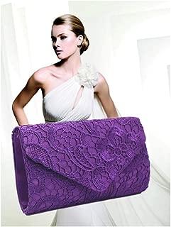 ETH Europe and The United States Flat Lace Envelope Bag Ladies Small Bag Banquet Bag Clutch Bag Bride Handbag Multi-Color Optional Permanent (Color : Purple)