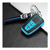 INTER FAST Haute Qualité Cas Couverture Souple TPU Pleine clé de Voiture Prius Toyota Camry Corolla CHR CHR RAV4 Prado 2018 Trousseau Accessoires (Color : Blue)
