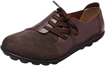 JUSTWIN Women's Leather Shoes Flat Loafers Peas Shoes Flat Boat Shoes Leather Mocassins Open Toe Shoes