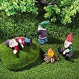 4Pcs Gartenzwerg Lustig Klein, mit Lagerfeuer, Garten Figuren Statue Deko, Betrunkene Pinkelnde Gnom Figur Geschenke für Indoor & Outdoor