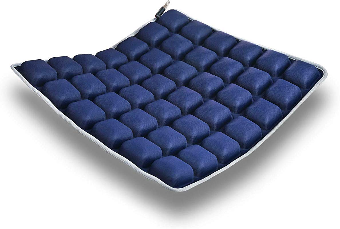 Air Vehicle Seat Cushion Water Fillable Chair Pad For Wheelchair Office Chair Cars Home Living Pressure Relief Pillow Adjustable Volume Softness Cool Non Slip Hip Protector Dark Blue