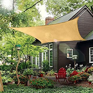Patio Sun Shade Sail Canopy, 12' x 16' Rectangle Shade Cloth Outdoor Cover - UV Block Sunshade Fabric Awning Shelter for Pergola Backyard Garden Carport (Sand)