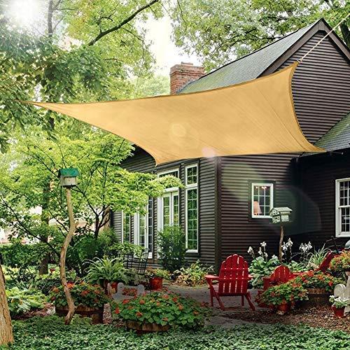 Patio Sun Shade Sail Canopy, 12' x 16' Rectangle Shade Cloth Outdoor Cover - Sunshade Fabric Awning Shelter for Pergola Backyard Garden Carport (Sand)