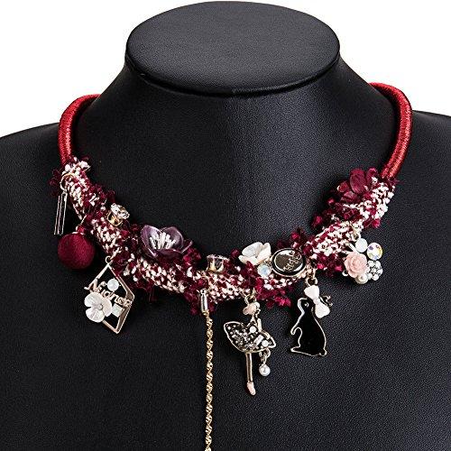 Kercisbeauty Halskette mit Blumen-Hase und dem Wunderland, Stoff, für Feste, Halloween-Partys, Kostüme