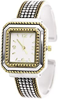 Rosemarie & Jubalee Women's Two Toned Textured Square Face Concho Bangle Bracelet Cuff Watch
