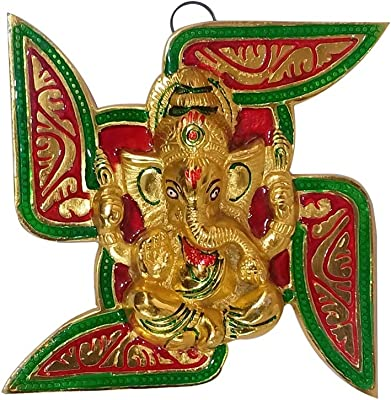 Collectible India Metal Ganesha Wall Hanging Placed On Swastik - Lord Ganesh Idol Ganpati Lucky Feng Shui Wall Arts Sculpture (Size 6.5 x 6.5 Inches)