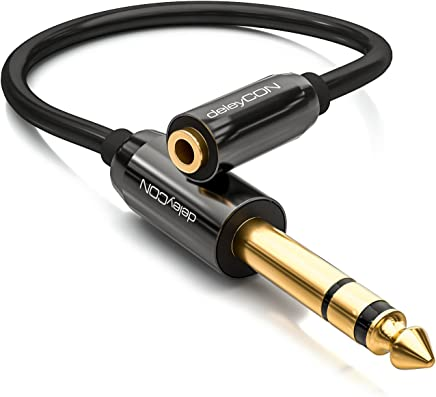 deleyCON 0,2m Cable Jack Adaptador de Audio Estéreo - Cable Jack de 6,3mm a Cable de Vídeo Jack de 3,5mm - Conector & Cable de Vídeo - Negro