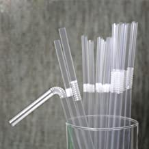 TIENO 100 Pieces Clear Disposable Drinking Straws Flexible Plastic Soda Smoothies Straw with Individual Packing