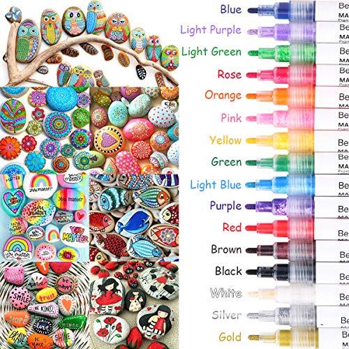 Acrylstifte für Steine, 16 Farben Wasserfest Permanent Marker Steine Bemalen Stifte Acrylfarben Stifte für Leinwand Leder Papier Glas Holz Kunststoff Keramik Metall Kinder DIY Fotoalbum