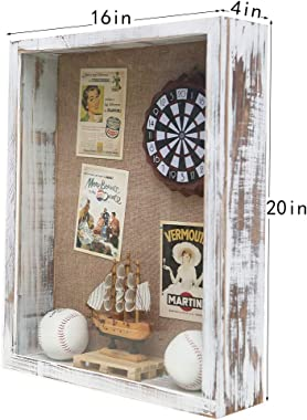 16x20 Shadow Box, 4 Inch Depth Extra Large Shadow Box Frame with Glass, Thick Shadow Box Display Case with Hinge, Big Memory