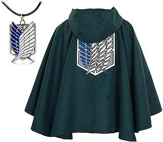 Attack on Titan Anime Shingeki No Kyojin Cloak Cape Cosplay with Nacklace Brand Green