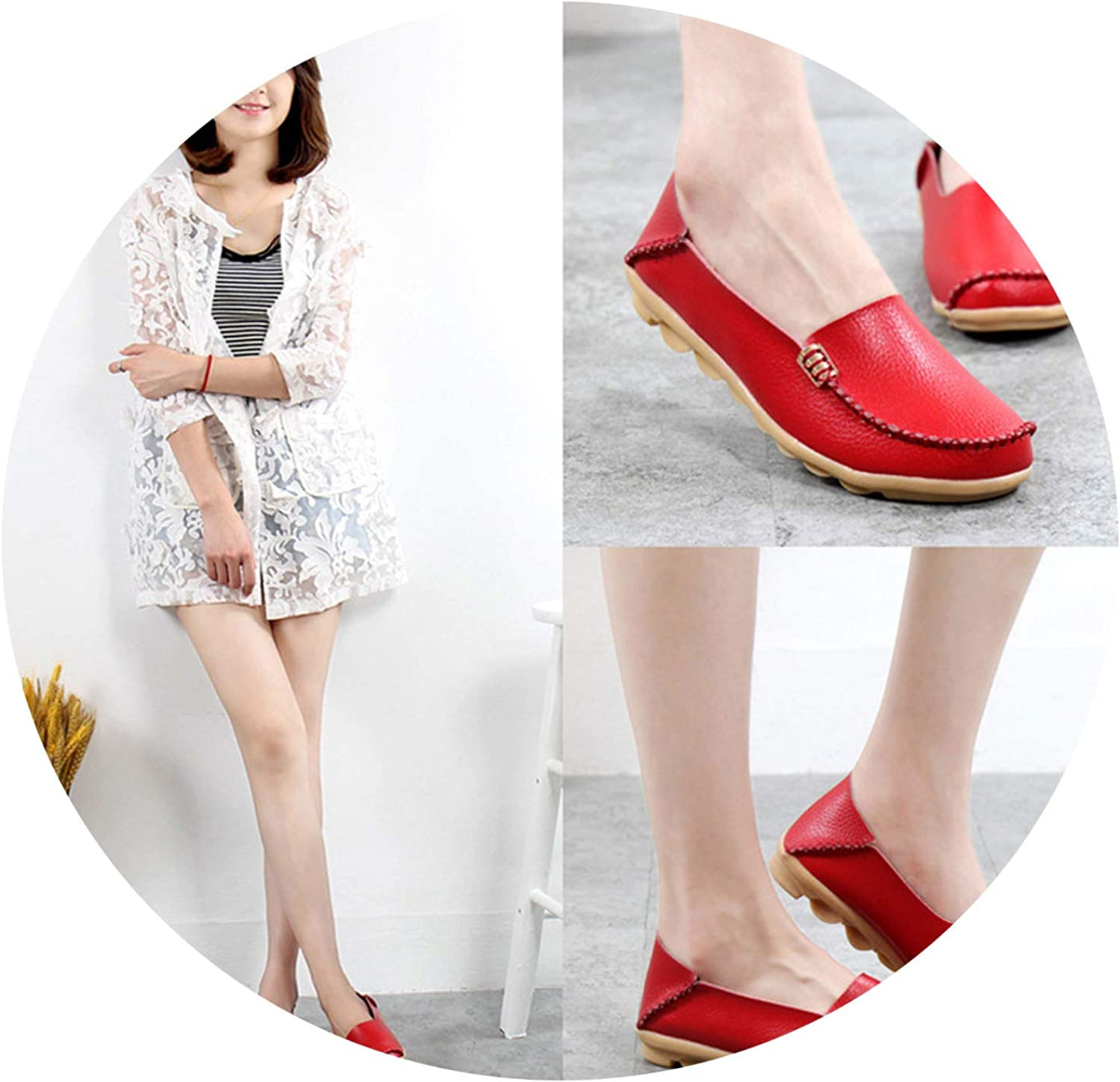 Don't mention the past Women shoes Plus Size Flat shoes Women Genuine Leather Loafers,Red,6