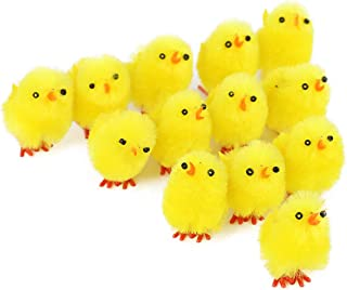 Wewill Small Cute Fully Yellow Chenille Easter Chicks-Pack of 36 Party Favors Kids Easter Egg Bonnet Decoration,1 1/2-Inch