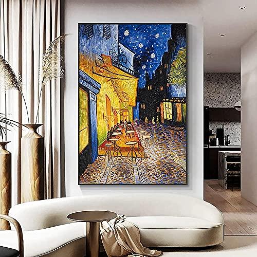 WZRY - Terrasa de café pintada a mano de Colgante, reproducción de Vincent Van Gogh, lienzo decorativo de pared, cuadros, pósteres y artes decorativas (60 x 80 cm))