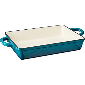 Crock Pot Artisan 13 Inch Enameled Cast Iron Lasagna Pan, Teal Ombre
