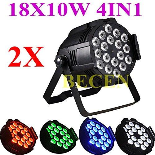 Sin impuestos, 2pcs 18x10w rgbw 4in1 led par 64 luz dmx dj iluminación para fiesta 180 w disco lámpara