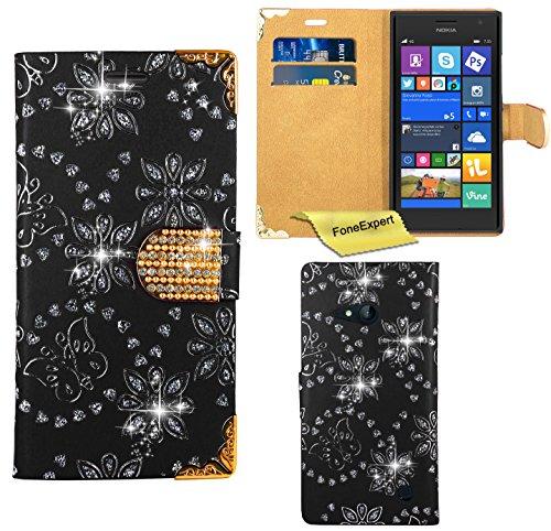 Nokia Lumia 730 735 Hülle, FoneExpert® Bling Luxus Diamant Hülle Wallet Hülle Cover Hüllen Etui Ledertasche Premium Lederhülle Schutzhülle für Nokia Lumia 730 735 + Bildschirmschutzfolie (Schwarz)