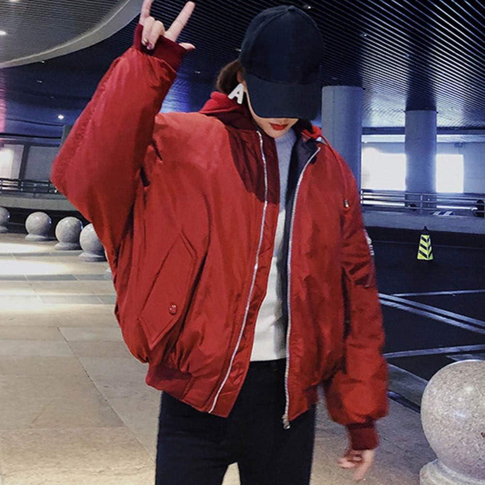 Damen Große Größe Kapuzenjacke Hip Hop Mädchen Mantel Herbst Winter Frauen Kapuze Sowohl Solide Zu Tragen Und Kurze Absatz Jacken Tasche Rot
