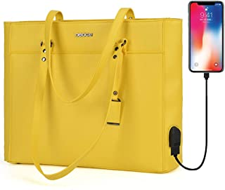 OSOCE Handbags Up to 15.6 '' Laptop for Women, Office Bags Briefcase,Laptop Tote Case for Women (Up to 15.6 '' Laptop, Yellow with USB)