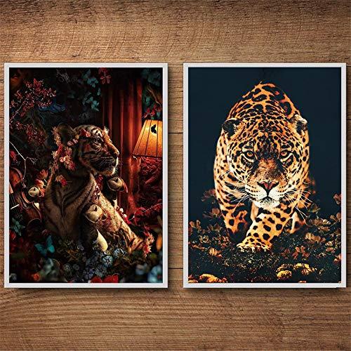 ZMFBHFBH Arte de la Pared de la Lona para la Sala de Estar Tigre Flor de la Pared Animal de Lujo para Pinturas en Lienzo Carteles e Impresiones 30x40cmx2pcs Sin Marco