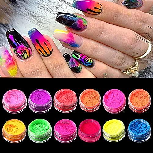 DUOLE Nagelpulver mit 12 Farben, Neonfarben, Nagelpuder, Acryl, Nagelkunst, Farbverlauf, Puder, Nägel, Pigmente, Staub, 3D, DIY-Nagelkunst-Dekoration