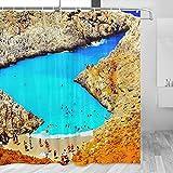 Grecia Seitan Limania - Cortina de ducha de playa para viajes, decoración de baño con ganchos de poliéster, 72 x 72 pulgadas (YL-02667)