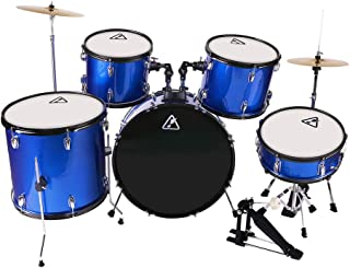 22inch 5 Piece Adults Drum Set, Les Ailes de la Voix Complete Full Size Adult's Drum Set Cymbal Child Kit with Stool Sticks Blue